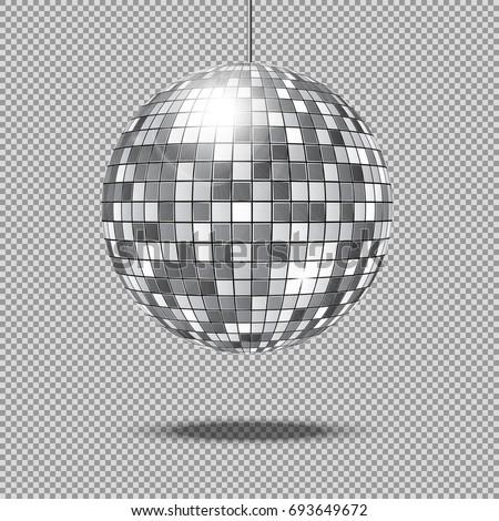 Mirror glitter disco ball illustration. Disco glitter ball for club decoration, shine and bright ball