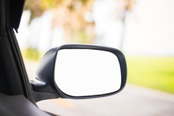 mirror of car with nature background