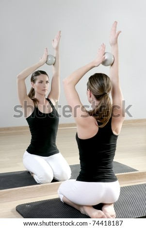 Mirror pilates gym woman toning balls sport gym fitness for Mirror 7th girl