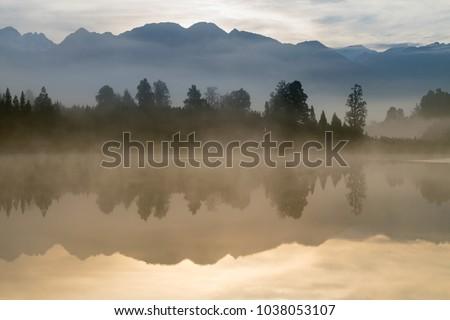 Mirror reflection Lake Mathson Aoraki Mount Cook National Park New Zealand, natural landscape background #1038053107