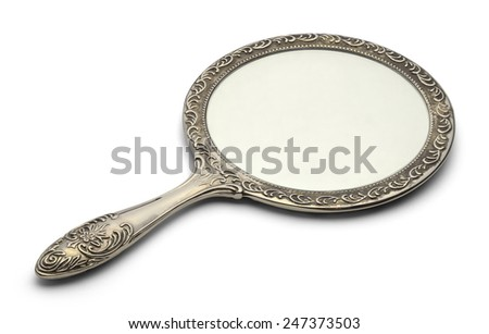Mirror Resting on Surface Isolated on White Background. #247373503
