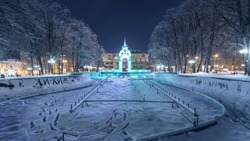 Mirror stream (or glass stream) winter timelapse - the first symbol of the city of Kharkov, a fountain in the heart of the city illuminated by night
