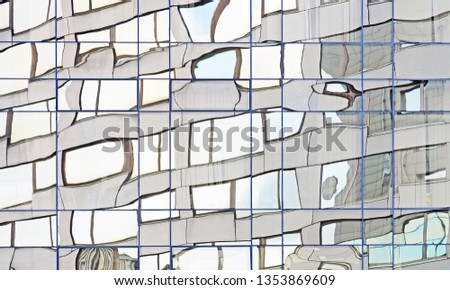 Mirror wall of the office building. Curved modern buildings reflected in mirrored windows. Reflection curves, curve mirrors #1353869609