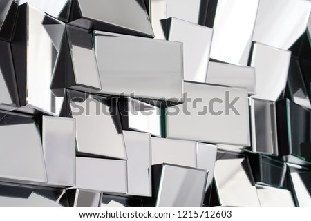 Mirror with foursquare in wall, decoration and reflection. Abstract glass background. Polygonal surface. Close-up. Texture.