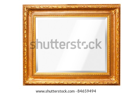 mirror with gold frame isolated