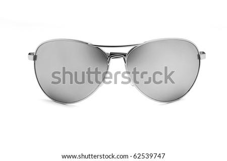 Mirrored aviator sunglasses isolated on white