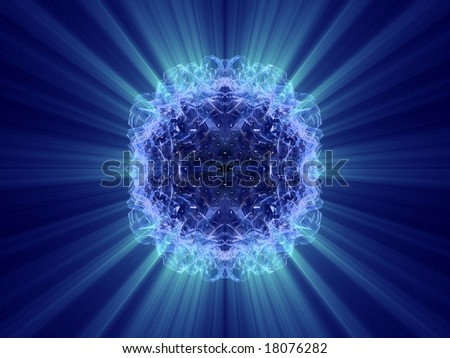 mirrored blue background with blue rays