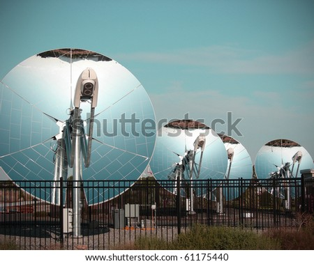 mirrored parabolic dish solar energy equipment