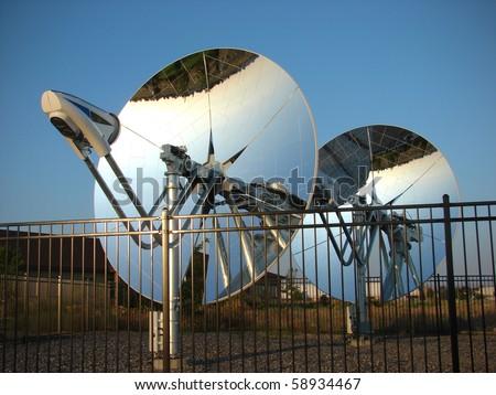 mirrored parabolic dish solar energy reflectors