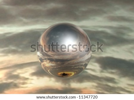 Mirrored sphere on sky background