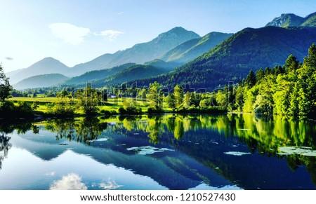 Mirroring in the lake stock photo