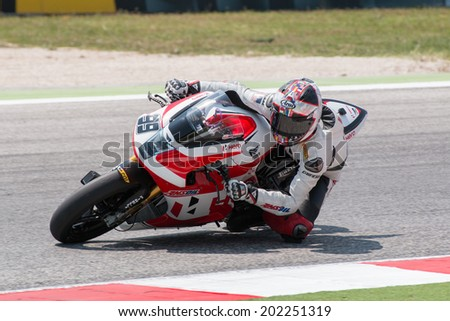 MISANO ADRIATICO, ITALY - JUNE 21: EBR 1190 RX of Team Hero EBR, driven by MAY Geoff in action during the Superbike Free Practice 4th Session during the FIM Superbike World Championship -