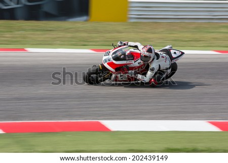 MISANO ADRIATICO, ITALY - JUNE 21: EBR 1190 RX of Team Hero EBR, driven by MAY Geoff in action during the Superbike Free Practice 3th Session during the FIM Superbike World Championship
