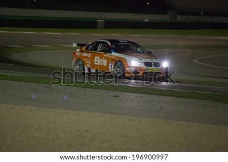MISANO ADRIATICO, Rimini, ITALY - May 10:  A BMW M3 GT4 of RT Holland Ekris MS team, driven By VAN ORANJE Bernhard and VAN DER ENDE Ricardo (NED),  the GT4 European Series car racing on May 10, 2014