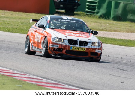 MISANO ADRIATICO, Rimini, ITALY - May 10:  A BMW M3 GT4 of RT Holland Ekris MS team, driven By VAN ORANJE Bernhard, and VAN DER ENDE Ricardo (NED),  the GT4 European Series car racing on May 10, 2014