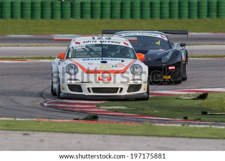 MISANO ADRIATICO, Rimini, ITALY - May 10:  A PORSCHE 997 CUP GTC of  DRIVE TECHNOLOGY ITALIA team, driven By BODEGA Giuseppe  and MAESTRI Stefano ,  the  C.I. Gran Turismo car racing on May 10, 2014