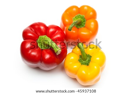 Miscellaneous color peppers. The top view