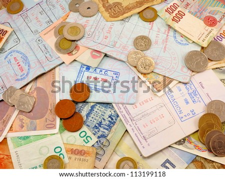 Miscellaneous passports, passport stamps, foreign currency, foreign change,