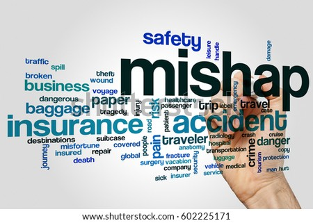Mishap word cloud concept on grey background #602225171