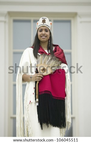 Miss Chickahomny American Indian and descendant of Powhatan Indian Tribe posing in front of State Capitol in Richmond Virginia during 400th Anniversary of Jamestown Settlement, May 3, 2007
