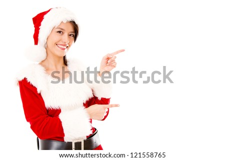 Miss Claus presenting something and pointing - isolated over a white backgorund