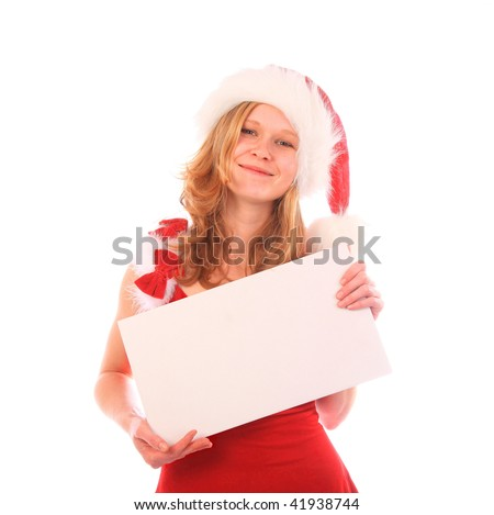 miss santa is smiling and holding a blank cardboard