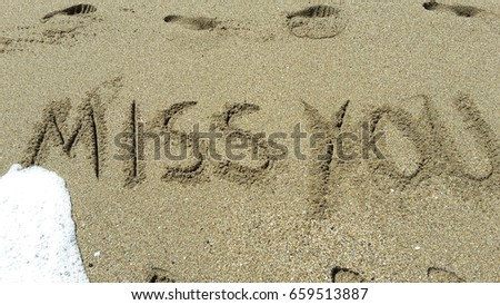 miss you written in sand  #659513887