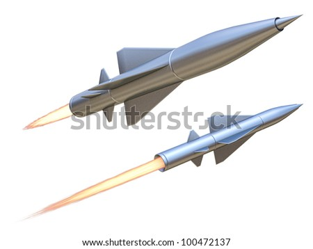 missile on a white background