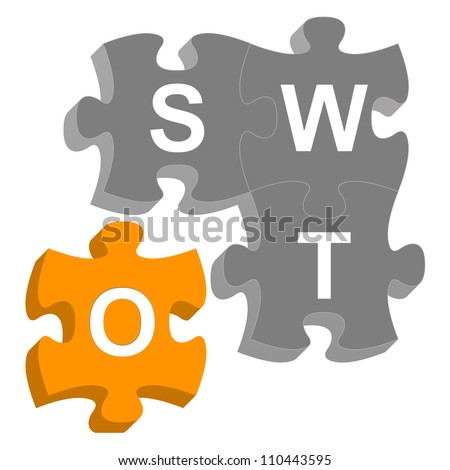 Missing Piece 3D SWOT Puzzle For Business Concept Isolated on White Background