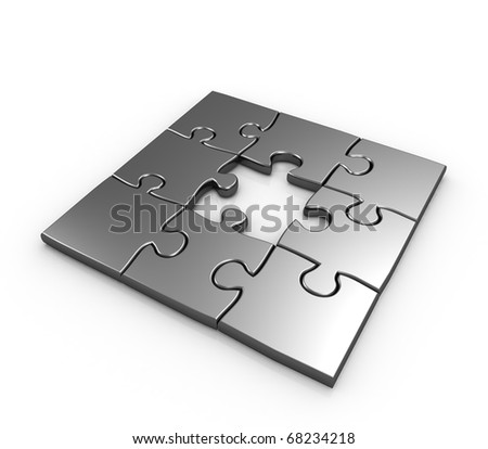 Missing piece puzzle isolated 3d illustration