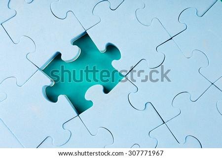 Missing puzzle piece, closeup