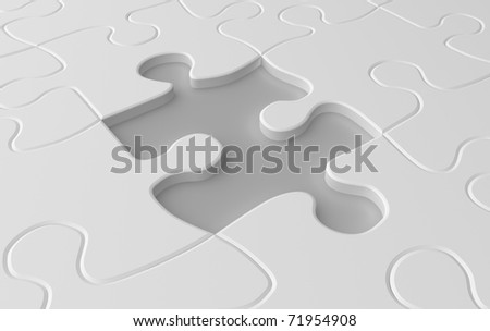 Missing puzzle piece concept in white colors