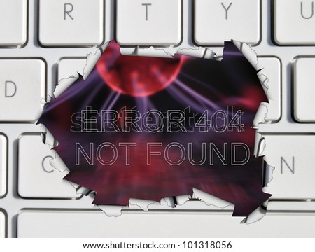 Missing web page illustration showing plasma field through laptop hole with the words Error 404 not found