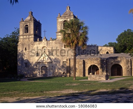 Mission Conception, part of the San Antonio Missions National Historical Park, in San Antonio, Texas.