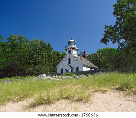 Mission Point Lighthouse, built 1870, Mission Peninsula in Grand Traverse Bay, Michigan - stock photo