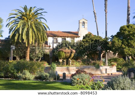 MISSION SAN JUAN CAPISTANO BELL AND FOUNTAIN LANDSCAPE