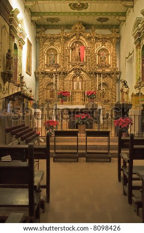 MISSION SAN JUAN CAPISTRANO CHAPEL GOLD ALTER AND CANDLES