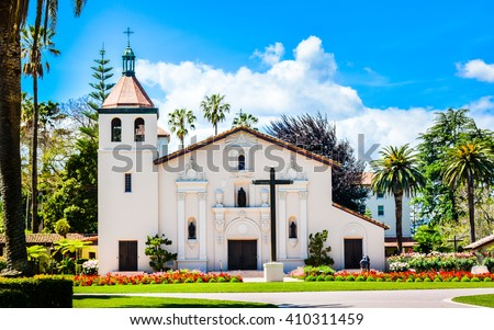 Shutterstock Mission Santa Clara de Asis, the 8th of the 21 missions established by the Spanish missionaries in the state of California. Today, the mission serves as the student chapel for Santa Clara University.