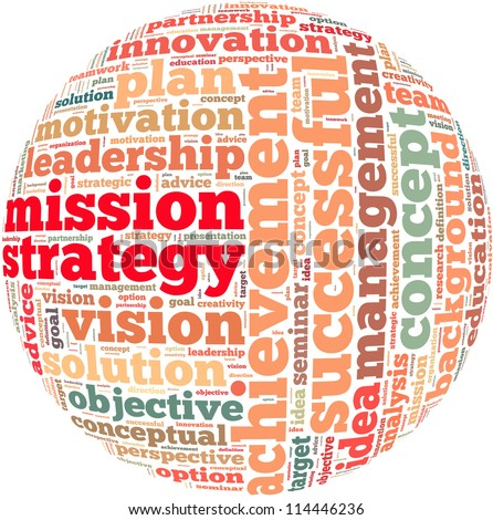 Mission strategy info-text graphics and arrangement concept on white background (word cloud)