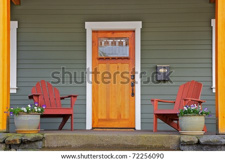 Front Door Styles on Stock Photo   Mission Style Stained Wood Front Door With Beveled Glass
