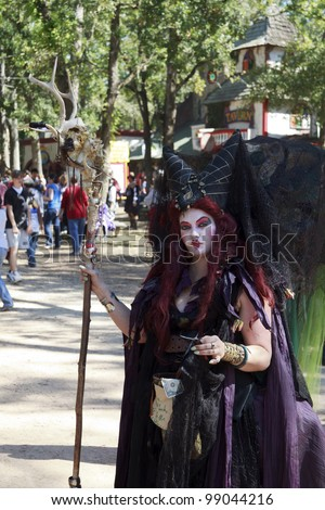 MISSION, TX - OCTOBER 17: Women performer working at the Texas Renaissance Festival, known as the largest in the state and taken on October 17, 2009 in Mission, Texas.