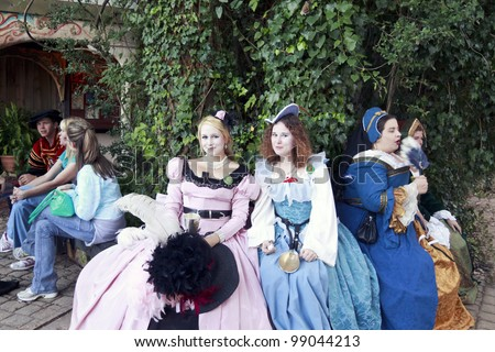 MISSION, TX - OCTOBER 17: Women performers working at the Texas Renaissance Festival, known as the largest in the state and taken on October 17, 2009 in Mission, Texas.