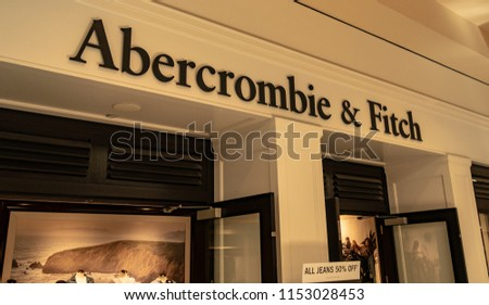 Mission Viejo, CA / USA - 08/07/2018: Abercrombie & Fitch Store at the Mission Viejo Mall #1153028453