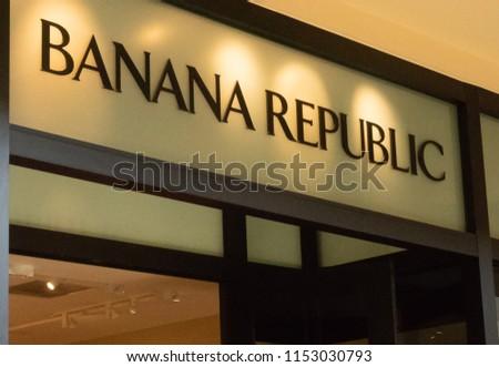 Mission Viejo, CA / USA - 08/07/2018: Banana Republic Store at the Mission Viejo Mall #1153030793