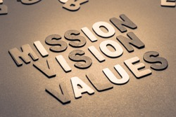 Mission, Vision and Values text in wood letters