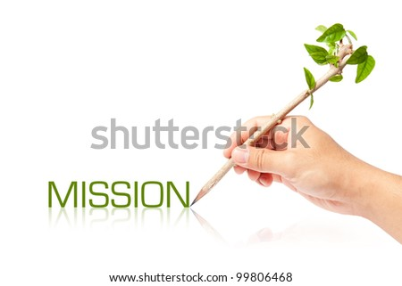 Mission wording with creative pencil with green tree on white backgorund