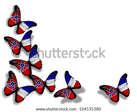 Mississippi flag butterflies, isolated on white background