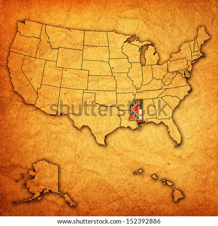 mississippi on old vintage map of usa with state borders