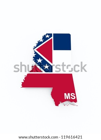 mississippi state flag on 3d map