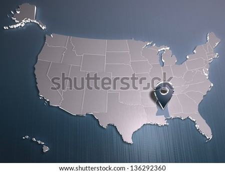 Mississippi. USA map. 3D render. For other states see portfolio. For other colors or symbols - connected to me.